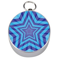 Abstract Starburst Blue Star Silver Compasses by Amaryn4rt