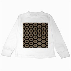 Black Bee Hive Texture Kids Long Sleeve T-Shirts by Amaryn4rt