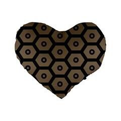 Black Bee Hive Texture Standard 16  Premium Heart Shape Cushions by Amaryn4rt