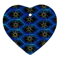 Blue Bee Hive Heart Ornament (two Sides) by Amaryn4rt