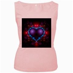 Blue Heart Women s Pink Tank Top by Amaryn4rt