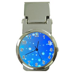 Blue Hot Pattern Blue Star Background Money Clip Watches by Amaryn4rt