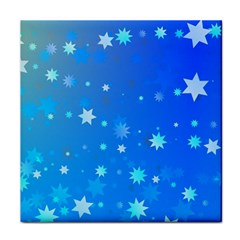 Blue Hot Pattern Blue Star Background Face Towel by Amaryn4rt