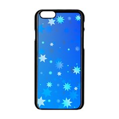 Blue Hot Pattern Blue Star Background Apple Iphone 6/6s Black Enamel Case by Amaryn4rt