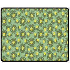 Another Supporting Tulip Flower Floral Yellow Gray Green Fleece Blanket (medium)  by Jojostore