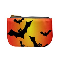 Bats Orange Halloween Illustration Clipart Mini Coin Purses by Jojostore