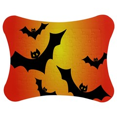 Bats Orange Halloween Illustration Clipart Jigsaw Puzzle Photo Stand (bow) by Jojostore