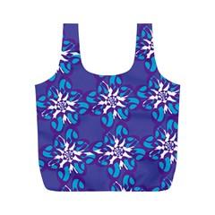 Analogous Blue Flower Full Print Recycle Bags (m)  by Jojostore