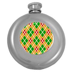 Chevron Wave Green Red Orange Line Round Hip Flask (5 Oz) by Jojostore