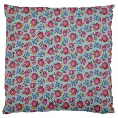 Fruit Flower Red Large Flano Cushion Case (two Sides) by Jojostore
