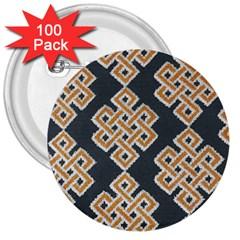 Geometric Cut Velvet Drapery Upholstery Fabric 3  Buttons (100 Pack)  by Jojostore