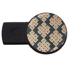 Geometric Cut Velvet Drapery Upholstery Fabric Usb Flash Drive Round (2 Gb) by Jojostore