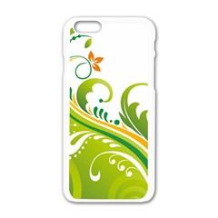 Leaf Flower Green Floral Apple Iphone 6/6s White Enamel Case by Jojostore