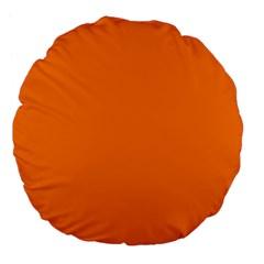 Orange Color Large 18  Premium Flano Round Cushions by Jojostore