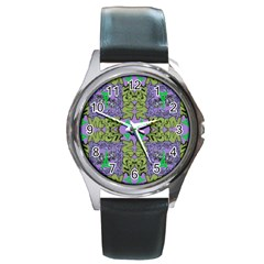 Paris Eiffel Tower Purple Green Round Metal Watch by Jojostore