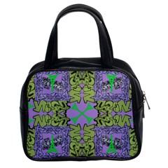Paris Eiffel Tower Purple Green Classic Handbags (2 Sides) by Jojostore