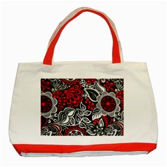 Red Batik Flower Classic Tote Bag (red) by Jojostore