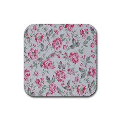 Rose Red Flower Rubber Square Coaster (4 Pack)  by Jojostore