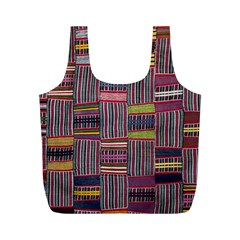 Strip Woven Cloth Color Full Print Recycle Bags (m)  by Jojostore