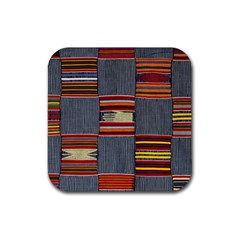 Strip Woven Cloth Rubber Square Coaster (4 Pack)  by Jojostore