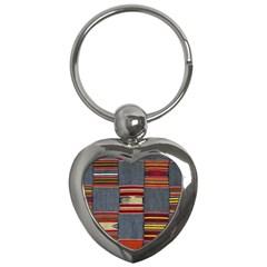 Strip Woven Cloth Key Chains (heart)  by Jojostore
