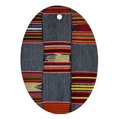 Strip Woven Cloth Oval Ornament (two Sides) by Jojostore