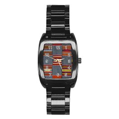 Strip Woven Cloth Stainless Steel Barrel Watch by Jojostore