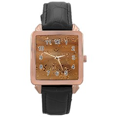 Circuit Board Rose Gold Leather Watch  by Amaryn4rt
