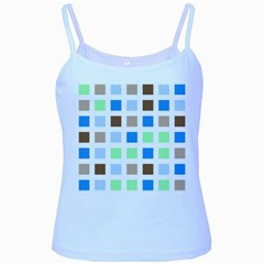 Colorful Green Background Tile Pattern Baby Blue Spaghetti Tank by Amaryn4rt