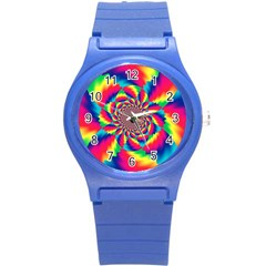 Colorful Psychedelic Art Background Round Plastic Sport Watch (s) by Amaryn4rt