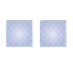 Damask Pattern Wallpaper Blue Cufflinks (square) by Amaryn4rt
