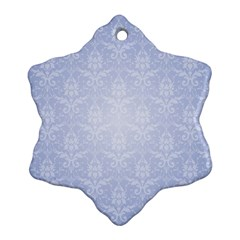 Damask Pattern Wallpaper Blue Snowflake Ornament (two Sides) by Amaryn4rt