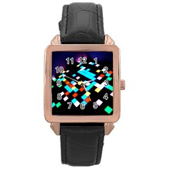 Dance Floor Rose Gold Leather Watch  by Amaryn4rt