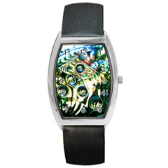 Dark Abstract Bubbles Barrel Style Metal Watch by Amaryn4rt