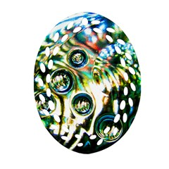 Dark Abstract Bubbles Oval Filigree Ornament (two Sides)