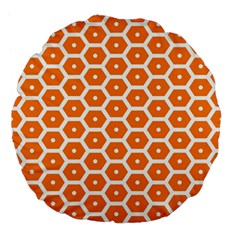 Golden Be Hive Pattern Large 18  Premium Flano Round Cushions by Amaryn4rt