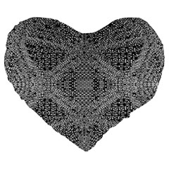 Gray Psychedelic Background Large 19  Premium Flano Heart Shape Cushions by Amaryn4rt