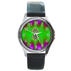Green And Purple Fractal Round Metal Watch by Amaryn4rt