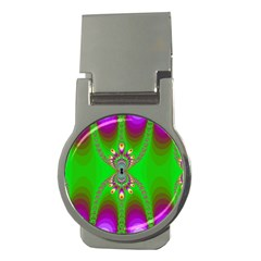 Green And Purple Fractal Money Clips (round)