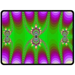 Green And Purple Fractal Fleece Blanket (large)  by Amaryn4rt