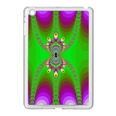 Green And Purple Fractal Apple Ipad Mini Case (white) by Amaryn4rt
