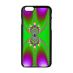 Green And Purple Fractal Apple Iphone 6/6s Black Enamel Case by Amaryn4rt