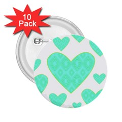 Green Heart Pattern 2 25  Buttons (10 Pack)  by Amaryn4rt