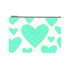 Green Heart Pattern Cosmetic Bag (large)