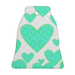 Green Heart Pattern Bell Ornament (Two Sides) by Amaryn4rt