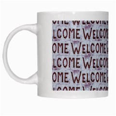 Welcome Letters Pattern White Mugs by dflcprints