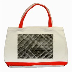 Grid Wire Mesh Stainless Rods Rods Raster Classic Tote Bag (red) by Amaryn4rt