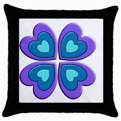 Light Blue Heart Images Throw Pillow Case (black)