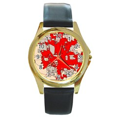 Map Of Franklin County Ohio Highlighting Columbus Round Gold Metal Watch by Amaryn4rt