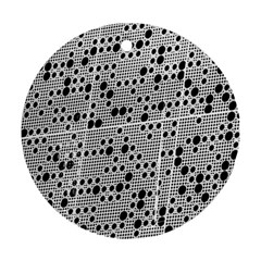 Metal Background Round Holes Round Ornament (two Sides) by Amaryn4rt